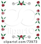 Border Of Roses And Leaves With Scrolls On The Top And Bottom Over White