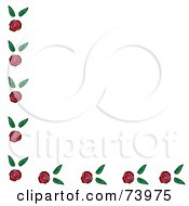 Corner Border Of Roses And Leaves On White