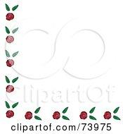 Corner Border Of Roses And Leaves On White