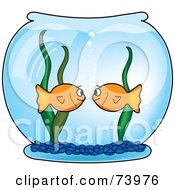 Royalty Free RF Clipart Illustration Of Two Goldfish Staring At Each Other In A Bowl