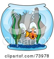 Royalty Free RF Clipart Illustration Of A Cat Gazing Through A Bowl At A Scared Goldfish by Pams Clipart