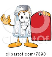 Salt Shaker Mascot Cartoon Character Holding A Red Sales Price Tag