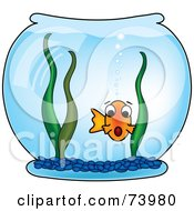Royalty Free RF Clipart Illustration Of A Surprised Fish With An Open Mouth In A Bowl