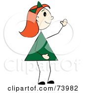 Royalty Free RF Clipart Illustration Of A Waving Red Haired Stick Girl