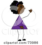 Royalty Free RF Clipart Illustration Of A Friendly Black Stick Girl Waving