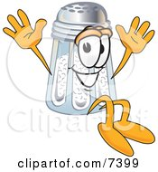 Clipart Picture Of A Salt Shaker Mascot Cartoon Character Jumping