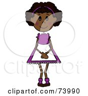 Royalty Free RF Clipart Illustration Of A Shy Blushing African American Girl by Pams Clipart