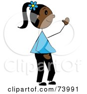 Royalty Free RF Clipart Illustration Of A Friendly African American Stick Girl Waving