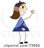 Royalty Free RF Clipart Illustration Of A Waving Brunette Stick Girl