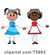 Royalty Free RF Clipart Illustration Of Two Diverse Girls Holding Hands