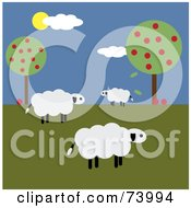 Royalty Free RF Clipart Illustration Of A Flock Of Three White Sheep Near Apple Trees by Pams Clipart