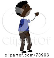 Royalty Free RF Clipart Illustration Of A Friendly Black Stick Boy Waving by Pams Clipart