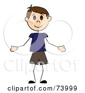 Royalty Free RF Clipart Illustration Of A Welcoming Brunette Caucasian Stick Boy