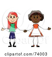 Royalty Free RF Clipart Illustration Of Two Diverse Little Girls Holding Hands