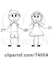 Royalty Free RF Clipart Illustration Of A Black And White Stick Boy And Girl Holding Hands by Pams Clipart #COLLC74004-0007