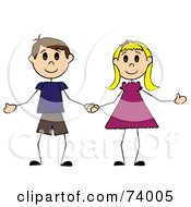 Royalty Free RF Clipart Illustration Of A Stick Boy And Girl Holding Hands