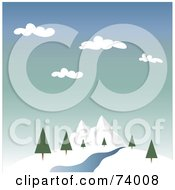 Royalty Free RF Clipart Illustration Of A Landscape Of A Creek And Trees Near Winter Mountains by Pams Clipart