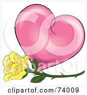 Royalty Free RF Clipart Illustration Of A Yellow Rose In Front Of A Pink Shaded Heart