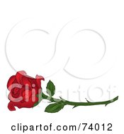 Royalty Free RF Clipart Illustration Of A Single Red Rose On A Long Thorny Stem