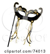 Royalty Free RF Clipart Illustration Of A Black And Gold Mardi Gras Mask With Ribbons