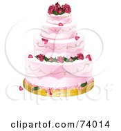Royalty Free RF Clipart Illustration Of A Four Tiered Pink Wedding Cake With Roses by Pams Clipart