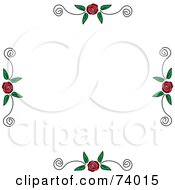 Royalty Free RF Clipart Illustration Of Borders Of Roses And Scrolls On White by Pams Clipart