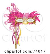 Royalty Free RF Clipart Illustration Of A Pink And Gold Feathered Mardi Gras Mask by Pams Clipart
