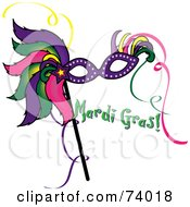 Royalty Free RF Clipart Illustration Of A Colorful Feathered Mask With Green Mardi Gras Text by Pams Clipart