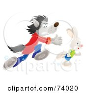 Royalty Free RF Clipart Illustration Of A Bad Airbrushed Wolf Chasing After A Rabbit