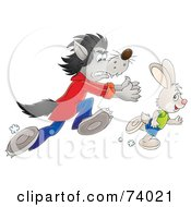 Royalty Free RF Clipart Illustration Of A Bad Wolf Chasing After A Rabbit