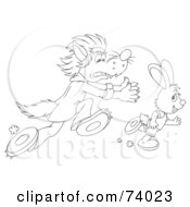 Royalty Free RF Clipart Illustration Of A Black And White Outline Of A Wolf Chasing After A Rabbit