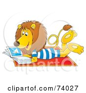 Royalty Free RF Clipart Illustration Of A Relaxed Lion Reading A Book On The Beach