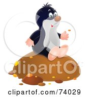 Royalty Free RF Clipart Illustration Of A Happy Airbrushed Gopher Sitting On A Mound Of Dirt