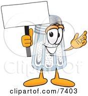 Salt Shaker Mascot Cartoon Character Holding A Blank Sign