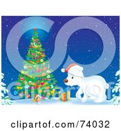 Royalty Free RF Clipart Illustration Of A Polar Bear Cub Wearing A Santa Hat And Standing By An Outdoor Christmas Tree In The Snow