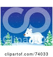 Royalty Free RF Clipart Illustration Of A Polar Bear Cub Wandering Through The Snowy Woods