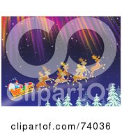 Royalty Free RF Clipart Illustration Of Reindeer Flying Santa In His Sleigh Under The Northern Lights Above Tree Tops