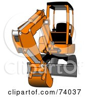 Royalty Free RF Clipart Illustration Of A Gray And Orange Mini Hydraulic Excavator Tractor by Dennis Cox