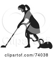 Royalty Free RF Clipart Illustration Of A Black Silhouetted Maid Woman Vacuuming A Floor