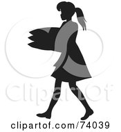 Royalty Free RF Clipart Illustration Of A Black Silhouetted Maid Woman Carrying A Stack Of Pillows