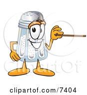 Salt Shaker Mascot Cartoon Character Holding A Pointer Stick