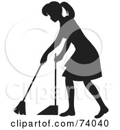 Royalty Free RF Clipart Illustration Of A Black Silhouetted Maid Woman Sweeping A Floor