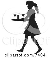 Royalty Free RF Clipart Illustration Of A Black Silhouetted Maid Or Waitress Woman Tidying Up Cocktail Glasses by Rosie Piter #COLLC74041-0023