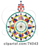 Colorful Ornate Compass Rose