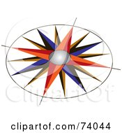 Royalty Free RF Clipart Illustration Of A Red Blue And Brown Compass Rose