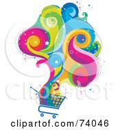 Royalty Free RF Clipart Illustration Of A Magical Colorful Cloud Rising From A Shopping Cart by BNP Design Studio