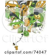 Royalty Free RF Clipart Illustration Of Recycling Items Over A Trash Can On White by BNP Design Studio