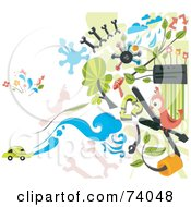 Royalty Free RF Clipart Illustration Of A Digital Collage Of Automotive Doodles On White