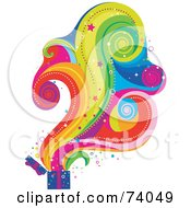 Royalty Free RF Clipart Illustration Of A Magical Colorful Cloud Rising From An Open Gift Box