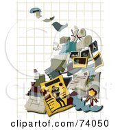 Royalty Free RF Clipart Illustration Of Printing Items Over Graph Paper On White